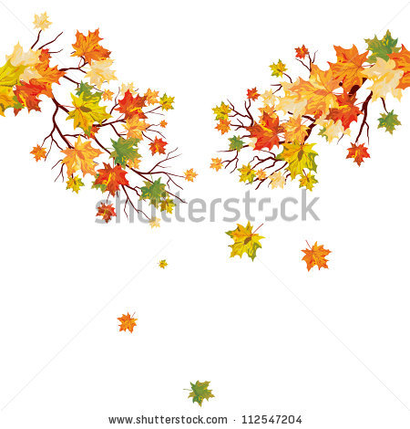 Autumn Maple Tree Falling Leaves Vector Stock Vector 111850397.