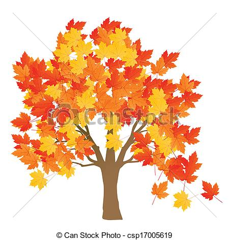 Vector Clip Art of Maple tree autumn leaves background vector for.