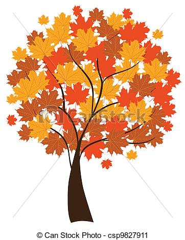 Vector Clip Art of maple tree.