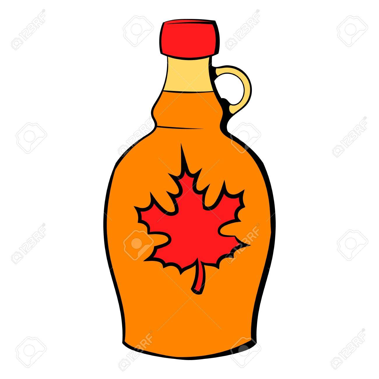 Bottle of maple syrup icon cartoon.