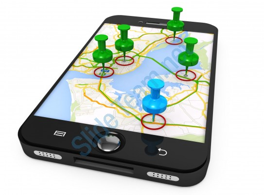 3D Graphic Of Mobile With Map And Clipart Pins Stock Photo.