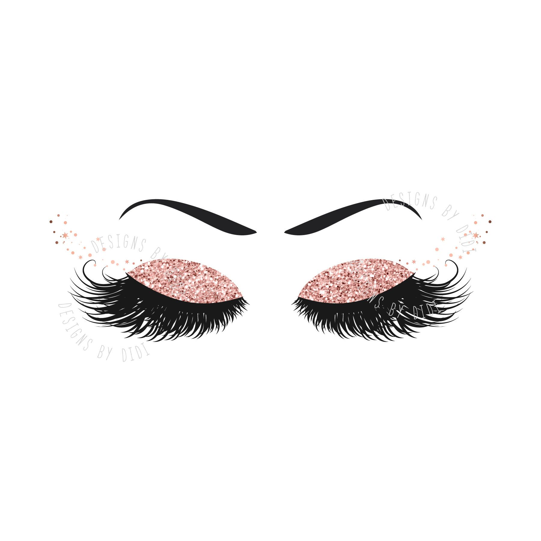 Instant Download, Lash Clipart, glitter rose gold lashes.