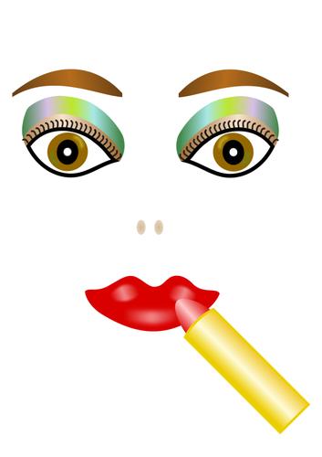 Desenho de maquiagem no rosto de mulher.