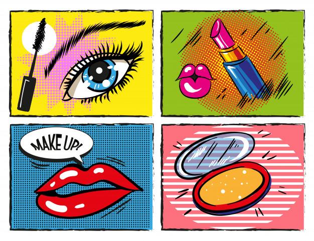 Maquiagem vintage pop art em quadrinhos e elementos.