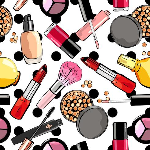 Seamless pattern with makeup products. Cosmetics..