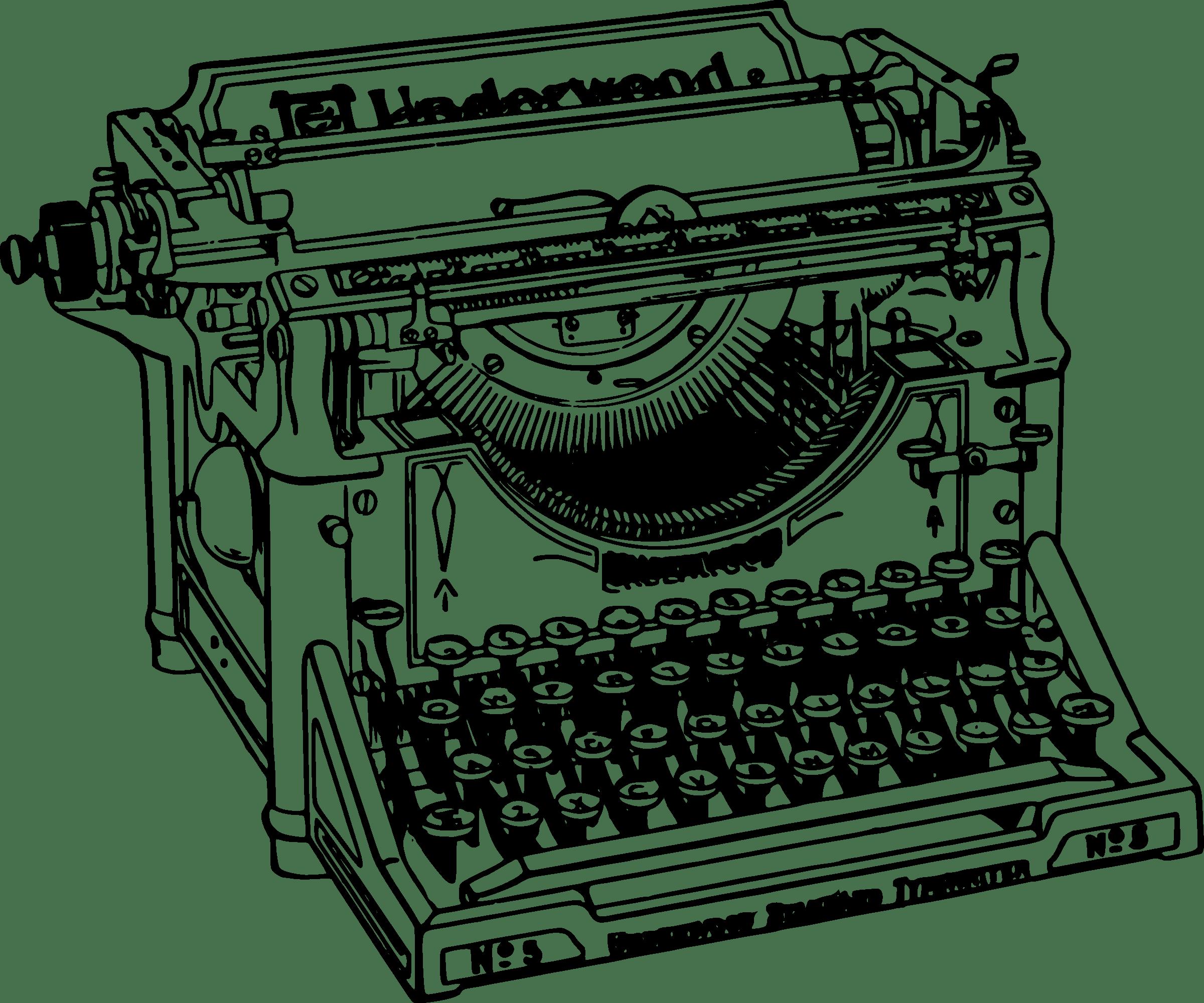 Vieja Máquina de Escritura Clipart PNG transparente.