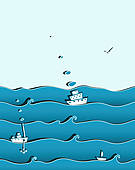 Clip Art of old sailboat k7417857.