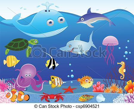 Vector Clip Art of Sea life cartoon background csp6904521.