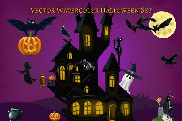 Halloween Clipart Elements Set.