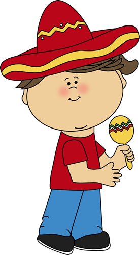 Girl with a Maraca Clip Art.