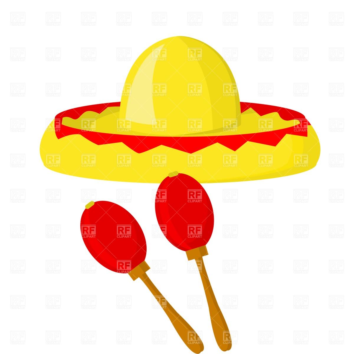 Mexican maraca sombrero Stock Vector Image.