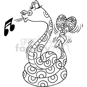 snake playing the maracas in black and white clipart. Royalty.