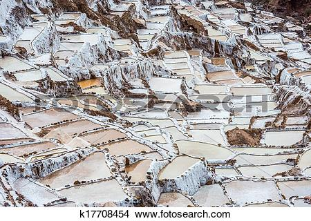 Stock Photo of Maras salt mines peruvian Andes Cuzco Peru.