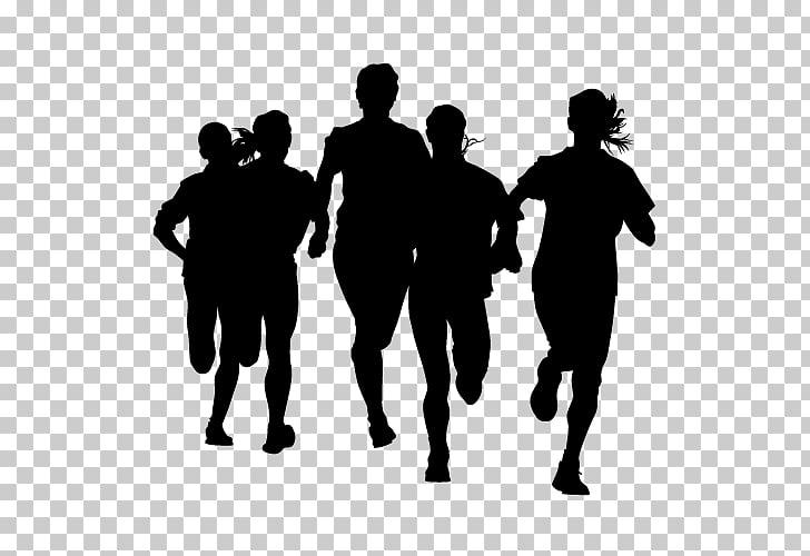 Running Sprint Marathon, Silhouette PNG clipart.