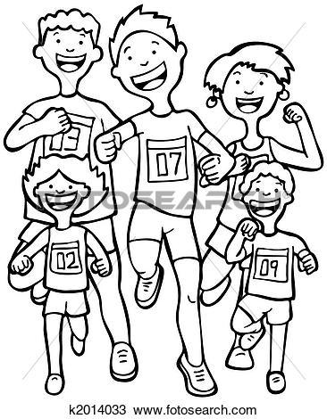 Drawing of Marathon Kid Race Line Art k2014033.