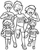 People Running Marathon Clipart.