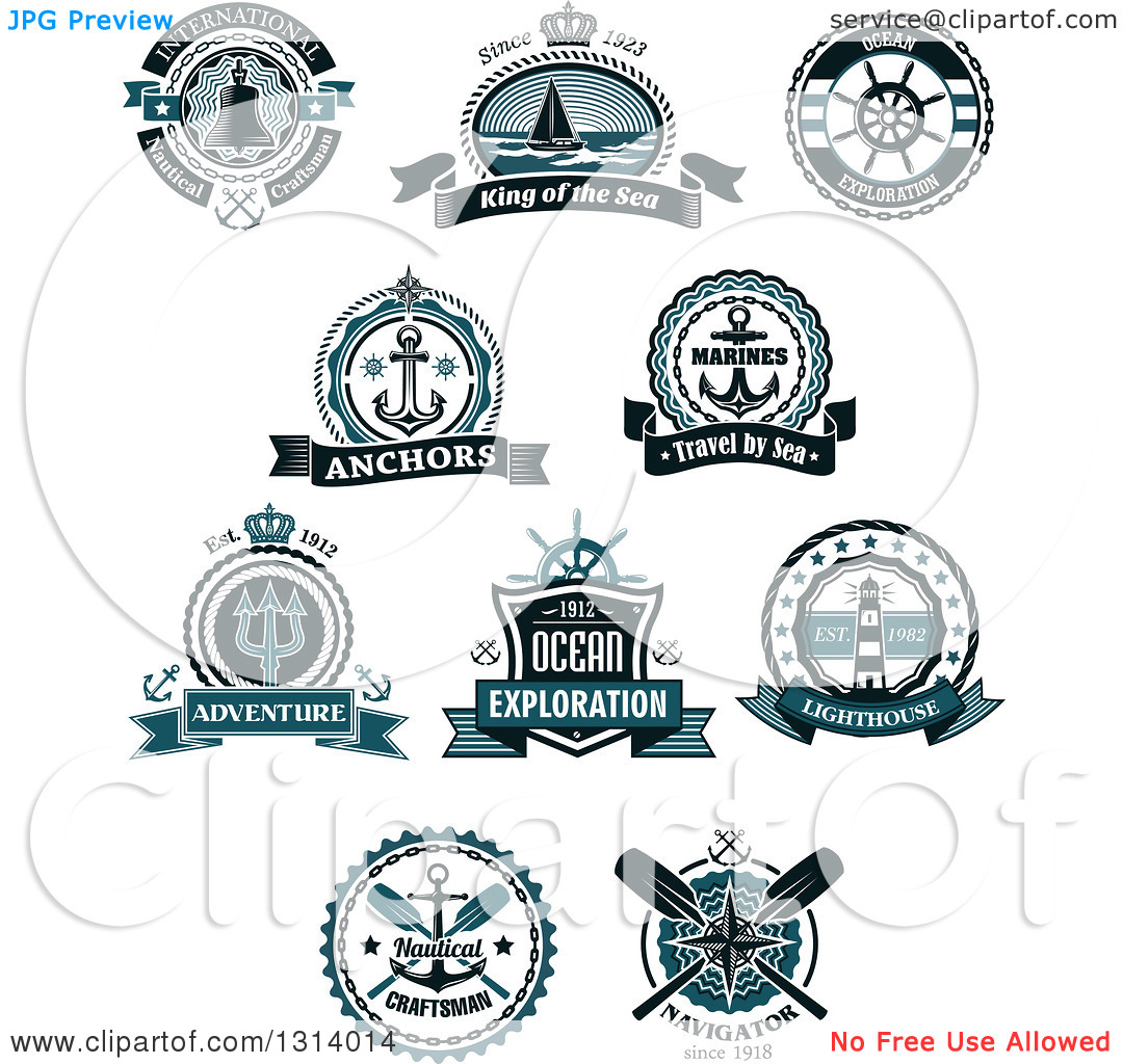 Clipart of Blue Nautical Maritime Labels with Text.