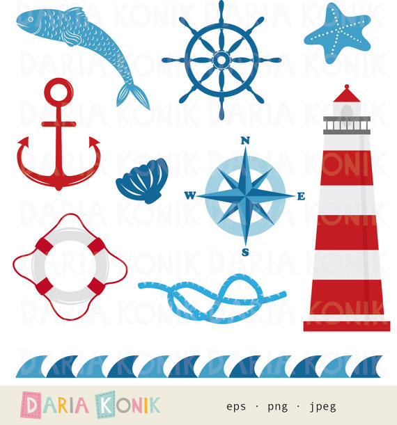 Nautical Clip Art Set.