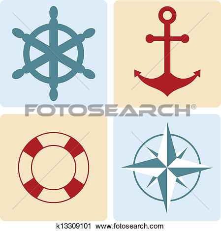 Clipart of maritime symbols: anchor, life buoy, the wind rose, the.