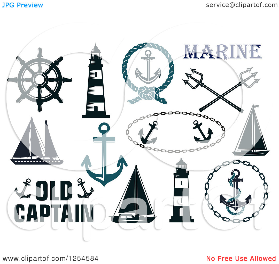 Clipart of Nautical Maritime Elements.