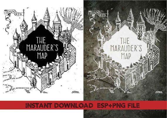 marauder\'s map Clip ArtT shirt iron on by CreationTreasure.