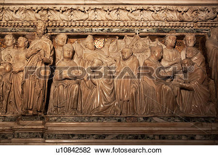 Stock Photo of Close up view of ornate carved marble sarcophagus.