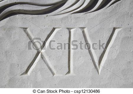 Pictures of Roman numbers carved on marble stone, historical date.