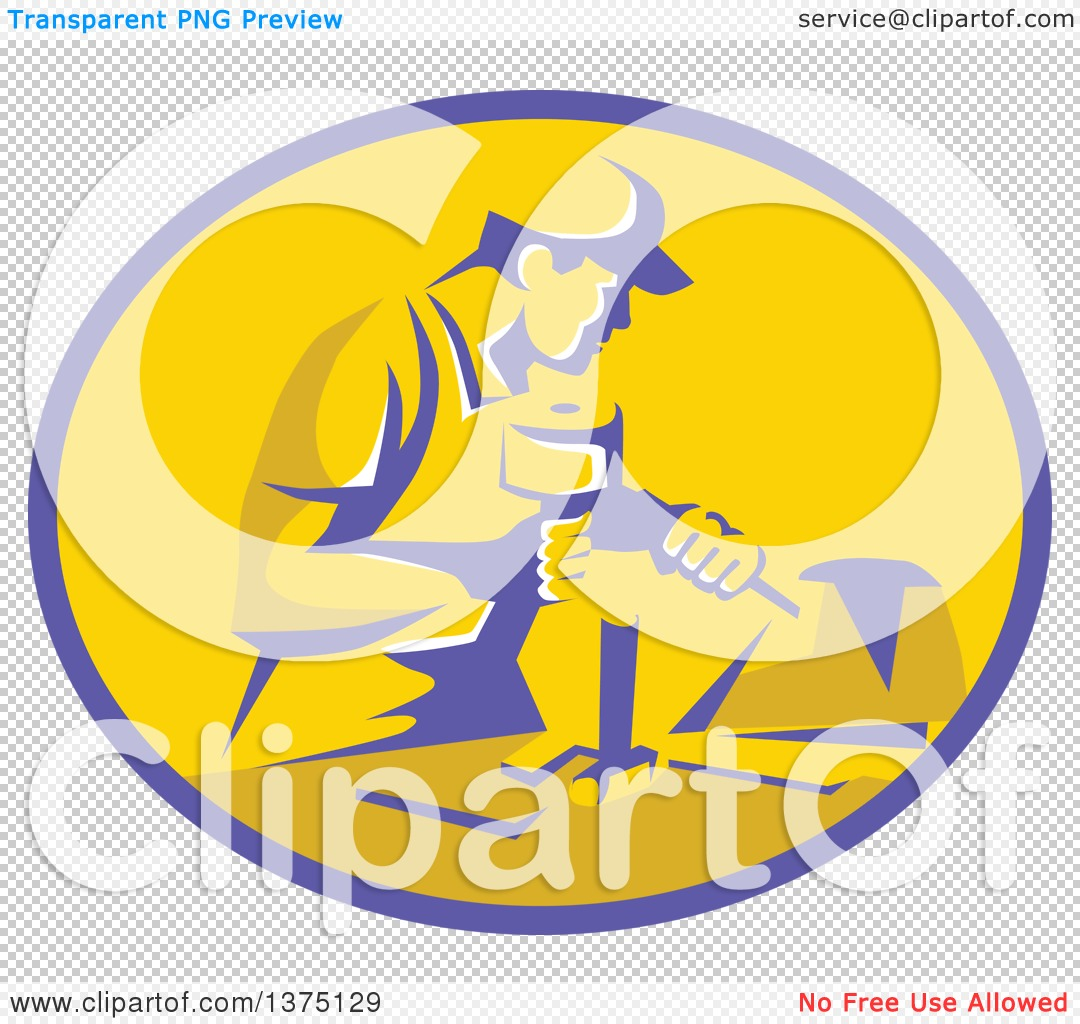 Clipart of a Retro Stonemason Worker Using a Mallet and Chisel to.