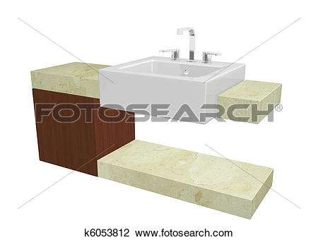 Clip Art of White square sink with chrome faucet, sitting on a.