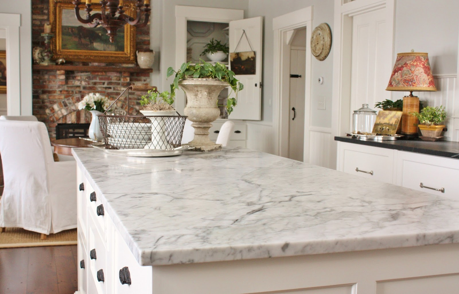 Kitchen bianco venatino marble countertops, venatino kitchen.