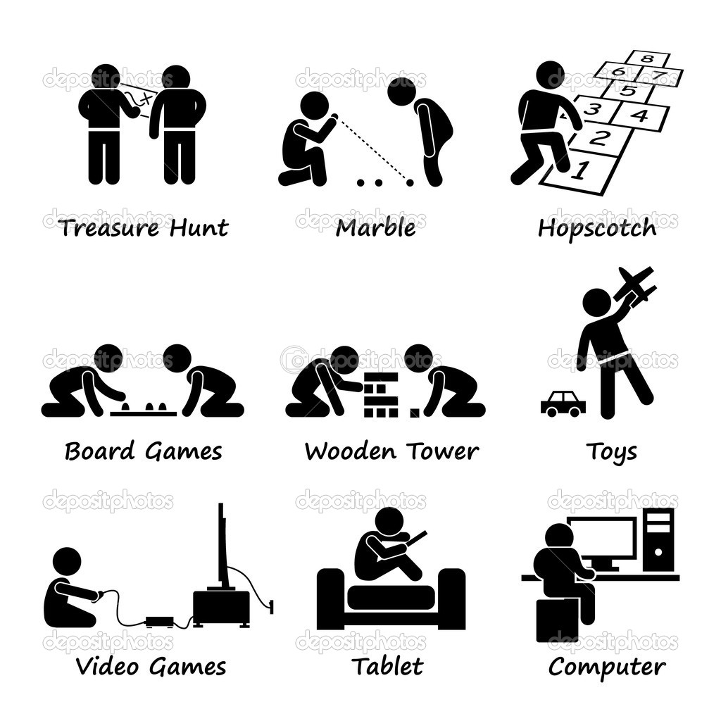 Children Playing Traditional and Modern Games Stick Figure.