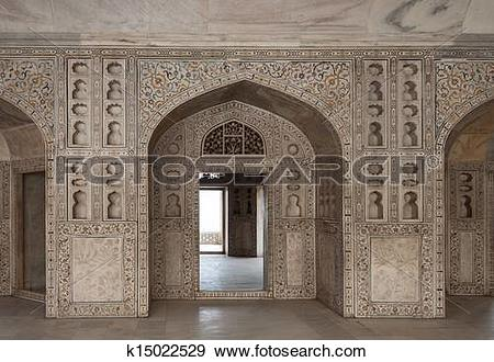 Stock Photograph of Marble hall of the palace. India k15022529.