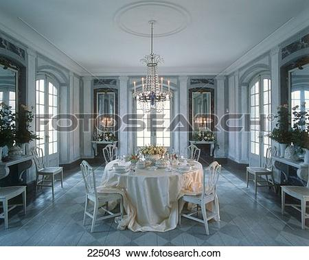 Stock Photo of Elegantly laid table in a marble hall 225043.