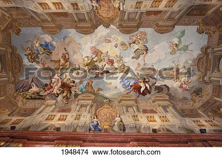 Stock Photo of Architectural painting on the ceiling fresco by.