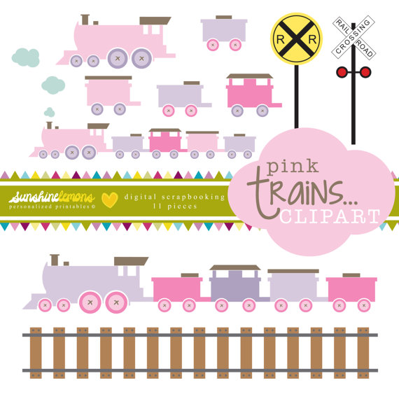 Pink Trains Clipart Railroad Crossing Clipart by SunshineLemons.
