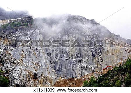 Stock Photograph of marble quarry, Colonnata, Alpi Apuane, Italy.
