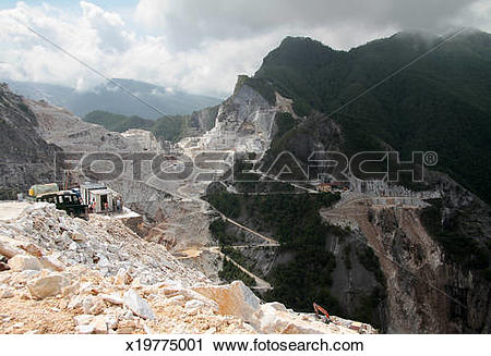 Stock Photography of Carrara marble quarries, Italy x19775001.