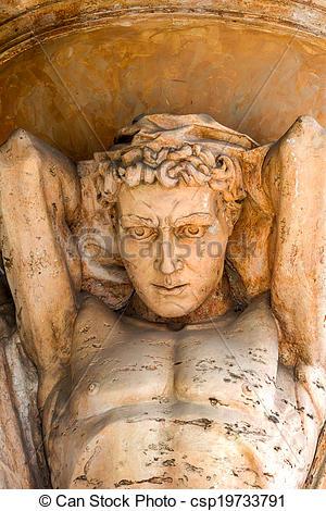 Stock Photographs of Antique ancient marble sculpture sky atlas.