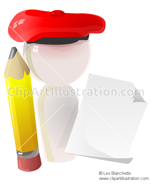 ClipArt Illustration of Artist Marble Sculpture with Pencil and.