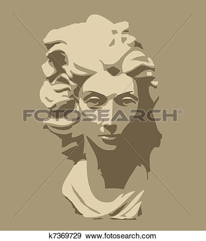 Clip Art of marble sculpture of head of woman k7369729.