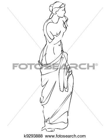 Clip Art of Female Greek marble sculpture k9293888.