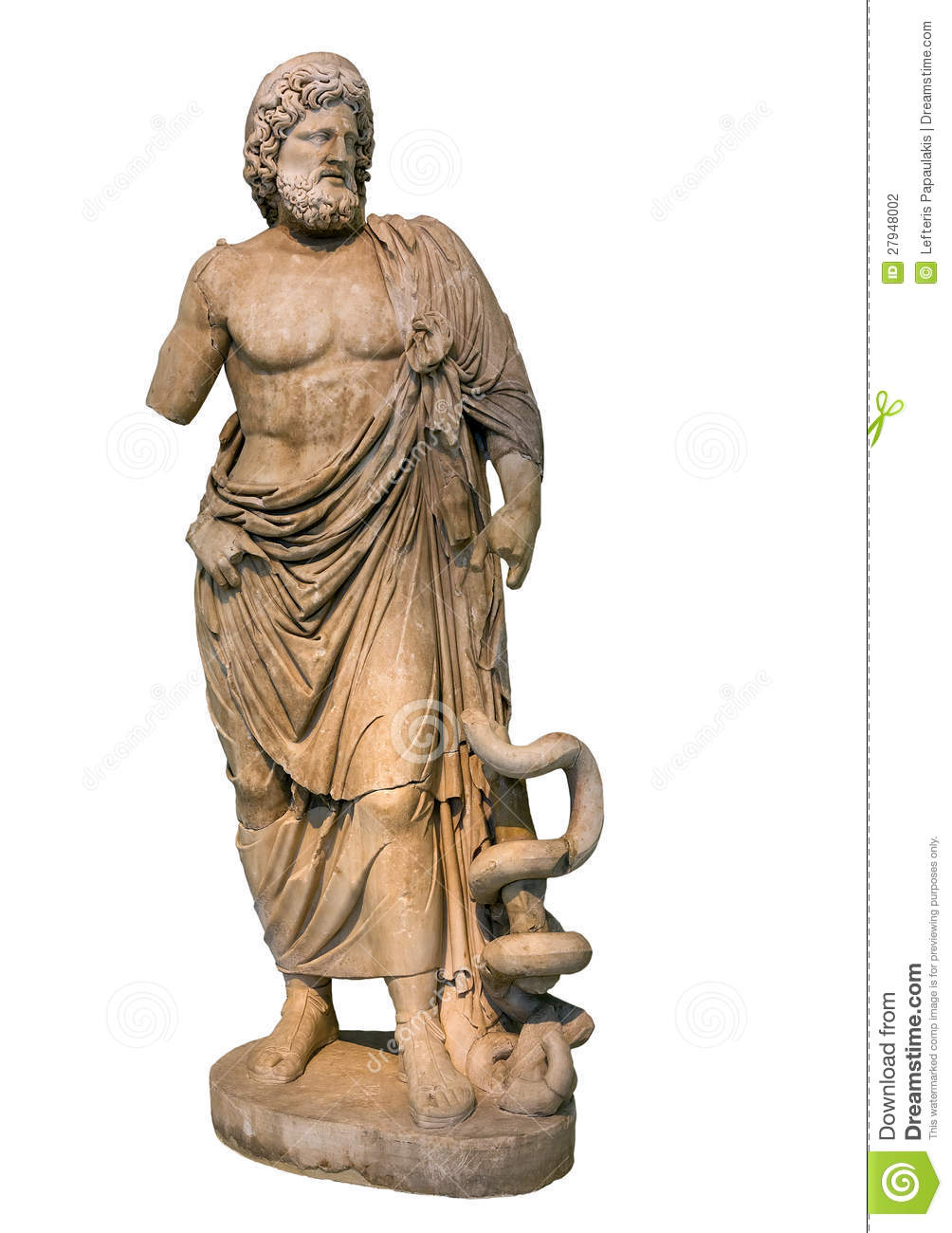 Marble Statue Of Ancient Greek God Asclepius Stock Photography.