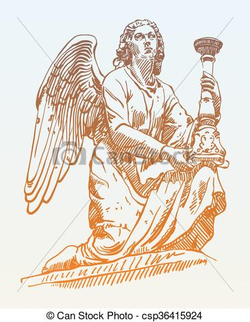 Vector Illustration of sketch drawing of marble statue angel from.