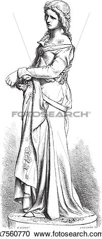 Clipart of Ophelia marble statue by Falguiere..