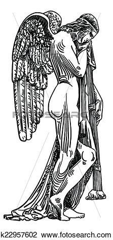 Clipart of black and white sketch drawing of marble statue angel.
