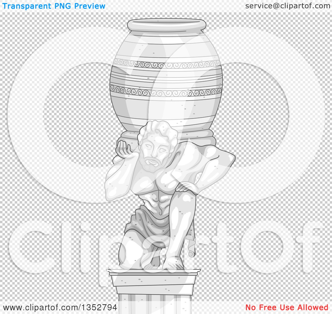 Clipart of a Marble Statue of a Man Carrying a Heavy Jar.