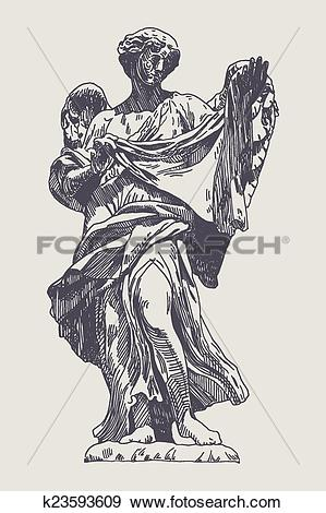 Clip Art of ink drawing marble statue of angel k23593609.