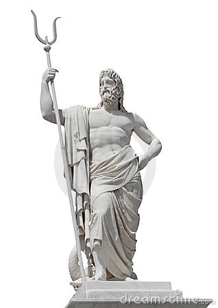 Marble Statue Of The Sea God Neptune Stock Image.