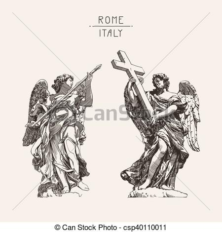Vector Clip Art of drawing of marble statue of two angels from the.