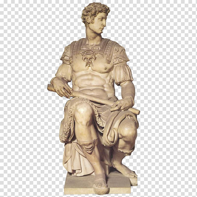 Man holding scroll sitting on chair statue, David Statue.